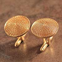 Gold plated filigree cufflinks, 'Starlit Sun' - Handcrafted Gold-plated Silver Cufflinks from Peru