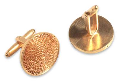 Gold plated filigree cufflinks, 'Starlit Sun' - 21k Gold Plated Silver Filigree Cufflinks