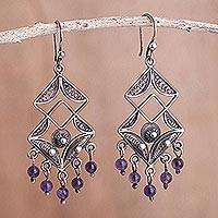 Amethyst chandelier earrings, 'Dark Filigree Maze' - Amethyst chandelier earrings