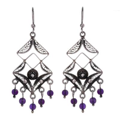 Amethyst chandelier earrings, 'Dark Filigree Maze' - Amethyst chandelier earrings