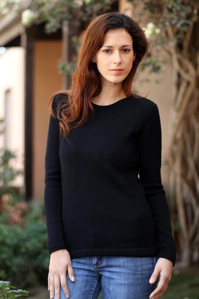 100% alpaca sweater, 'Ebony Charm' - Black Alpaca Wool Pullover Sweater