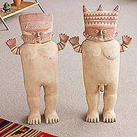 Ceramic sculptures, 'Cuchimilco Couple' (pair, large)