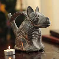 Ceramic sculpture, 'Chimu Dog' - Hand Crafted Peruvian Archaeological Ceramic Dog Sculpture