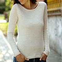 100% alpaca sweater, 'Ivory Charm' - Women's Alpaca Wool Classic Pullover Sweater