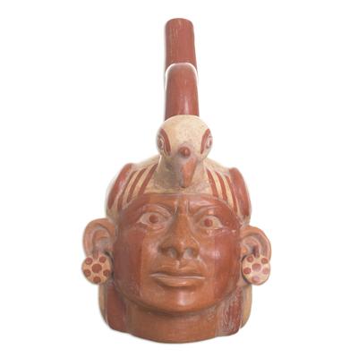 Ceramic sculpture, 'Condor Man' - Archaeological Ceramic Sculpture