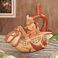 Ceramic sculpture, 'Moche Jailer'
