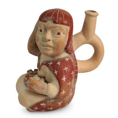 Ceramic sculpture, 'Moche Mother' - Ceramic Sculpture Museum Replica Peru