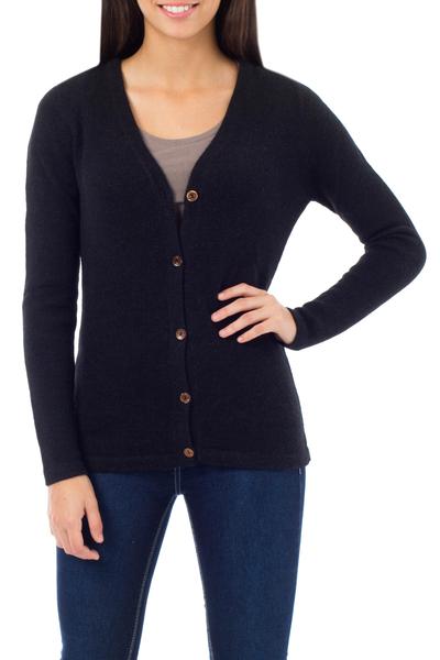 100% alpaca sweater, 'Nostalgia' - Hand Crafted Peruvian Alpaca Wool Cardigan Sweater