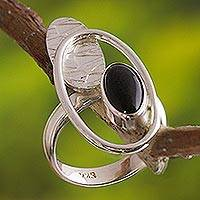 Obsidian cocktail ring, 'Motion' - Handcrafted Modern Sterling Silver Cocktail Obsidian Ring