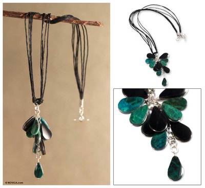 Chrysocolla and onyx necklace, 'Andean Cluster' - Chrysocolla and onyx necklace