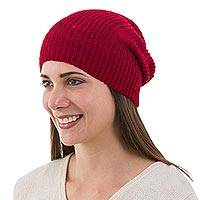 Alpaca blend hat, 'Scarlet Glam' - Artisan Crafted Alpaca Wool Solid Hat