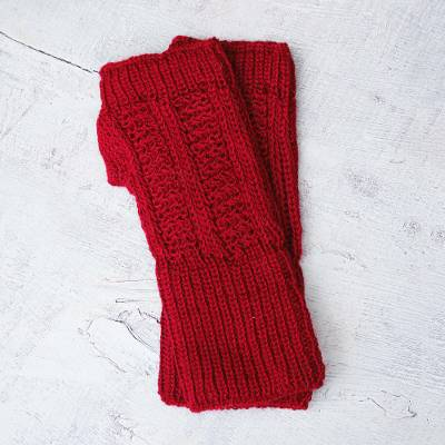 Alpaca blend fingerless mitts, 'Scarlet Glam' - Alpaca Wool Fingerless Mitts from Peru