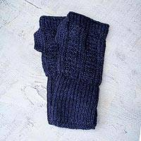 Alpaca blend fingerless mitts, 'Navy Glam' - Unique Womens Alpaca Wool Gloves