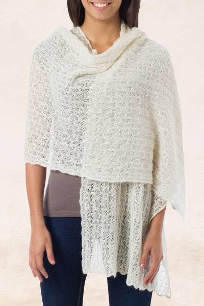 Alpaca blend shawl,  'Muse' - Pure Alpaca Wool Shawl from Peru