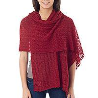 Alpaca blend shawl, 'Muse in Scarlet' - Alpaca Wool Solid Shawl