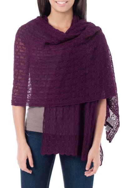 Alpaca blend shawl, 'Muse in Plum' - Alpaca Wool Soft Hand Knit Shawl