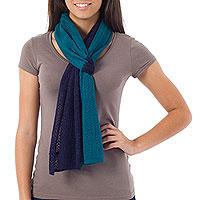 Alpaca blend scarf, 'Bold Blue'