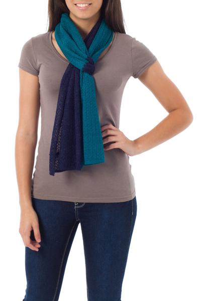 Alpaca blend scarf, 'Bold Blue' - Unique Alpaca Wool Solid Scarf