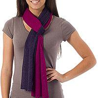 Alpaca blend scarf, 'Bold Purple' - Handcrafted Peruvian Alpaca Wool Scarf