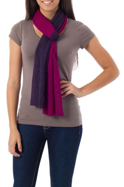 beec7766572ad Alpaca blend scarf, 'Bold Purple' - Handcrafted Peruvian Alpaca Wool Scarf
