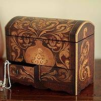 Cedar jewelry box, 'Antonio' - Handmade Peruvian Wood Jewelry Box