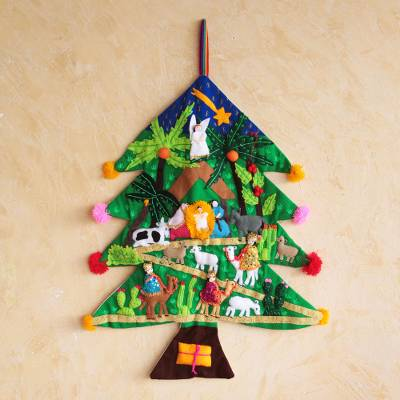 Applique Christmas tree wall hanging, 'Happy Nativity Scene' - Peruvian Christmas Tree Applique Wall Hanging