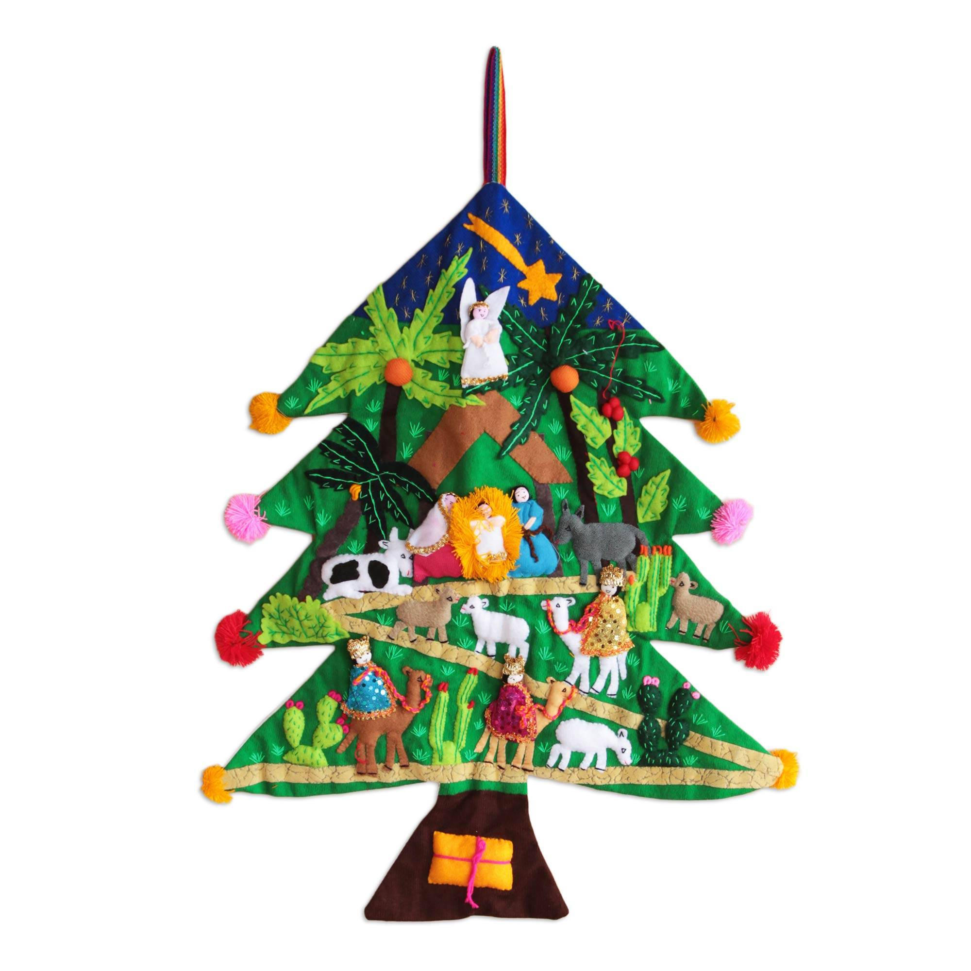 Wall Hanging Christmas Tree peruvian christmas tree applique wall hanging - happy nativity