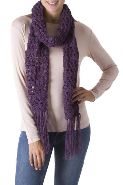 Purple 100% Alpaca Wool Hand Crocheted Scarf