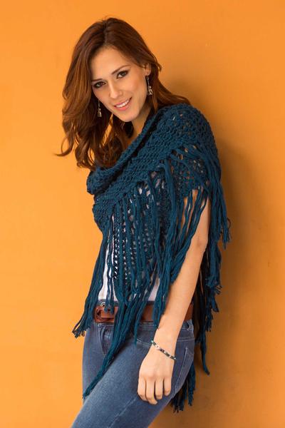 100% alpaca shawl, 'Andean Empress' - Alpaca Shawl Hand Crocheted in Peru