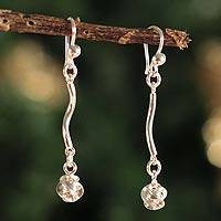 Silver dangle earrings, 'Twist' - Silver dangle earrings