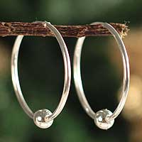 Sterling silver hoop earrings, 'Luminous Orbits' - Artisan Crafted Fine Silver Hoop Earrings from Peru