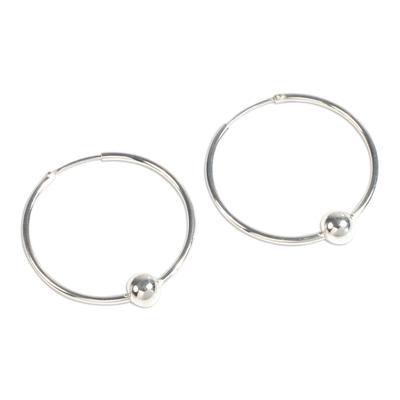 Sterling silver hoop earrings, 'Luminous Orbits' - Artisan Crafted Sterling Silver Hoop Earrings from Peru