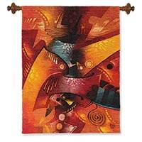 Wool tapestry, 'Nazca Dawn' - Wool tapestry
