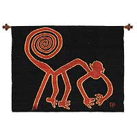 Wool and cotton tapestry, 'Nazca Monkey' - Hand Made Wool Tapestry