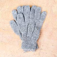 100% alpaca gloves, 'Silver Leaves' - Alpaca Wool Gloves