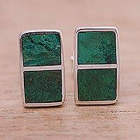 Chrysocolla button earrings, 'Forest Windows' - Chrysocolla button earrings