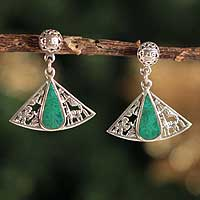 Chrysocolla dangle earrings, 'Inca Fan'