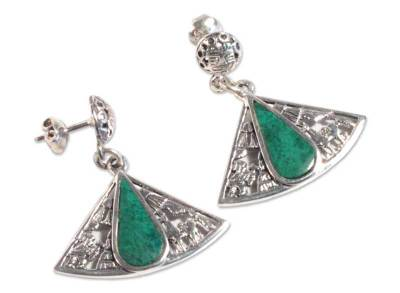 Handcrafted Fine Silver Chrysocolla Earrings