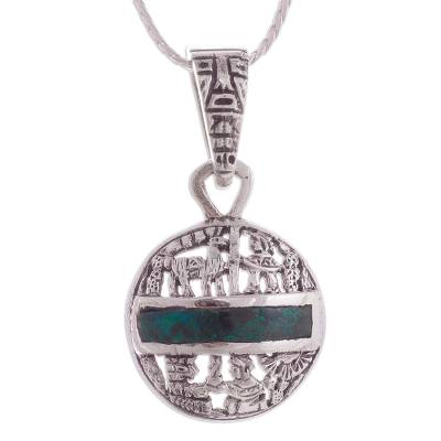 Chrysocolla Inca Motif Pendant Necklace