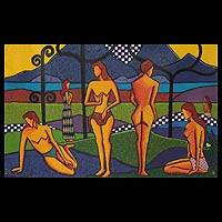 'Bathers' (2010) - Expressionist Oil Painting