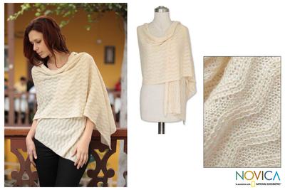 100% alpaca shawl, 'Natural Zigzag' - Handcrafted Alpaca Wool Shawl from Peru