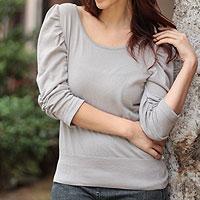 Cotton knit top, 'Cuzco Smoke Empress' - Cotton knit top
