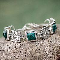 Chrysocolla flower bracelet, 'Beautiful Blossoms' - Chrysocolla flower bracelet