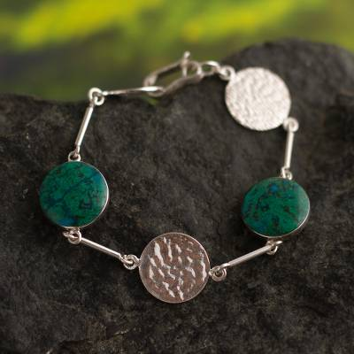 Chrysocolla chain bracelet, 'Quechua Moon' - Hand Made Sterling Silver Chrysocolla Link Bracelet