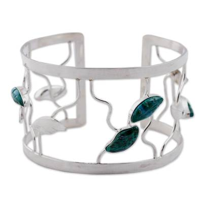 Chrysocolla flower bracelet, 'Drifting Leaves' - Chrysocolla flower bracelet