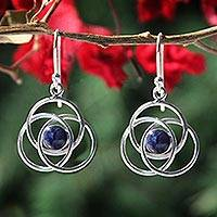 Sodalite earrings, 'Floral Orbit' - Modern Sterling Silver Dangle Sodalite Earrings