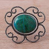 Chrysocolla brooch pin pendant, 'Sea of Tranquility'