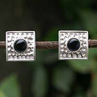 Onyx clip-on earrings, 'Center of the Night' - Onyx clip-on earrings