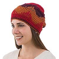 100% alpaca hat, 'Inca Fire' - 100% alpaca hat