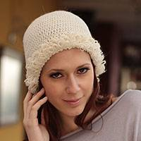 100% alpaca hat, 'Winter Flower' - 100% alpaca hat